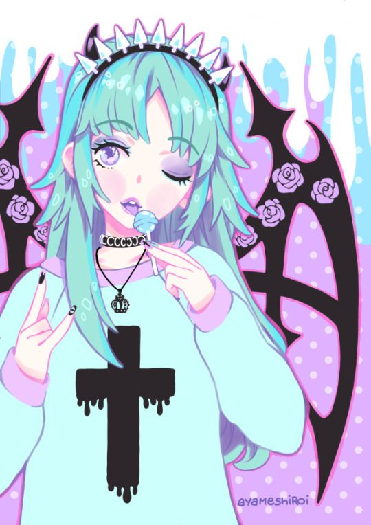 Pastel,Goth,Cute,Kawaii,Girl,Anime,Manga,Girl,Black,Roses,Blue,Pink