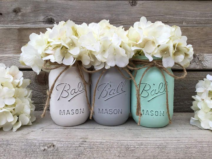 Etsy Mint Gray And White Mason Jars Bathroom Decor Mint And Gray Nursery Decor Mint And Grey Bedroom Decor Grey Nursery Decor Painted Mason Jars