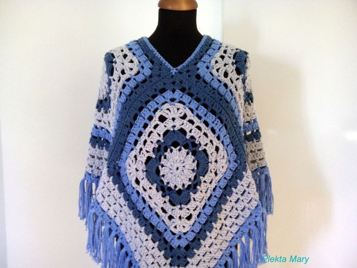 Summer crochet poncho, women clothes bohemian style, hippie clothes, gray light blue blue summer top, handmade poncho, granny square poncho by CrochetMaryGR on Etsy