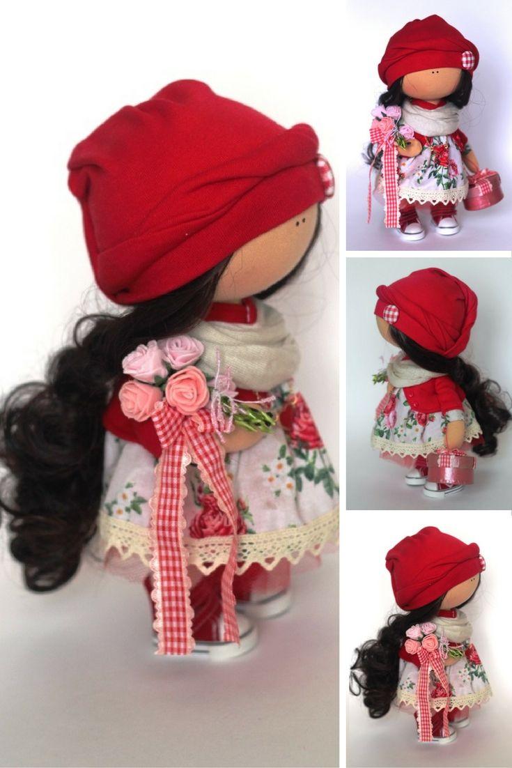 Tilda doll Fabric doll Summer doll handmade red black color Soft doll Cloth doll…