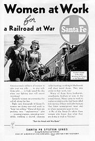 Sante Fe Railroad ad singing the praises of its women workers.