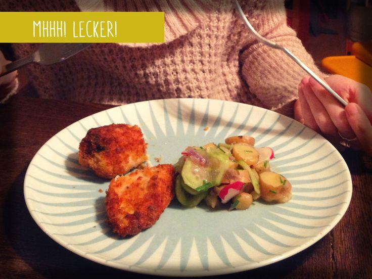 Und so sieht unser Alfons Schuhbeck Kindergericht aus, wenn es fertig ist: Zitronenbackhendl mit Kartoffelsalat: Super Lecker