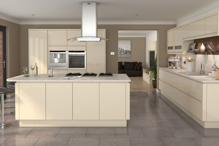 white gloss kitchen grey worktop grey floor - Google Search