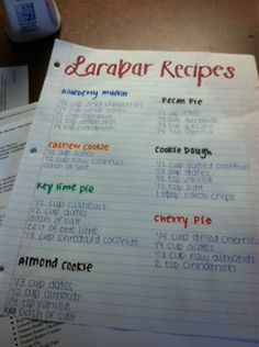 Larabar recipes! We love these but it gets expensive. Great snack for kids and adults - especially since costco only sells the bleh ones