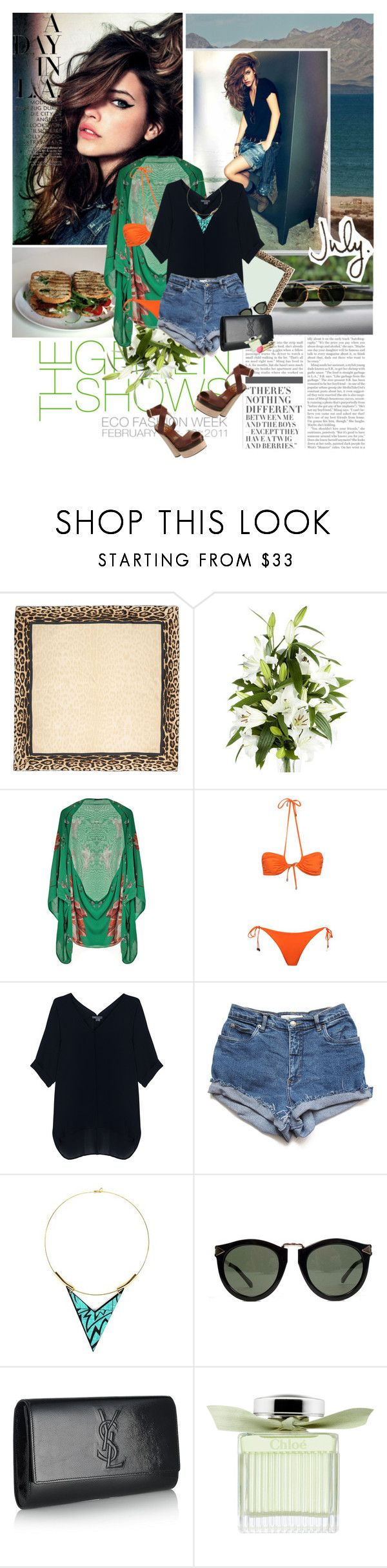 """""California girls. We're unforgettable. Daisy Dukes. Bikinis on top."""" by are-you-with-me ❤ liked on Polyvore featuring Nicki Minaj, Roberto Cavalli, Alexander McQueen, Prism, Vince, Miss Wax, Karen Walker, Yves Saint Laurent, Chloé and L'Oréal Paris"