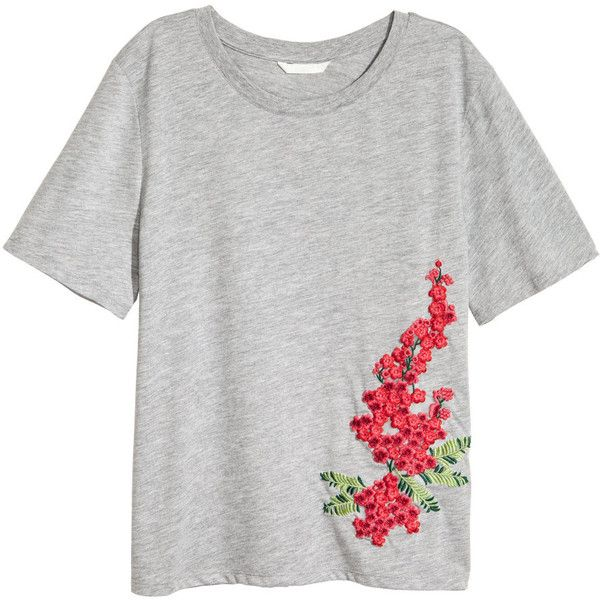 Embroidered T-shirt $17.99 (€16) ❤ liked on Polyvore featuring tops, t-shirts, white jersey, embroidery tee-shirt, white tops, white embroidered top and jersey tee