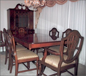 Great Duncan Phyfe Style Double Pedestal Dining Table With Shield Back Chairs