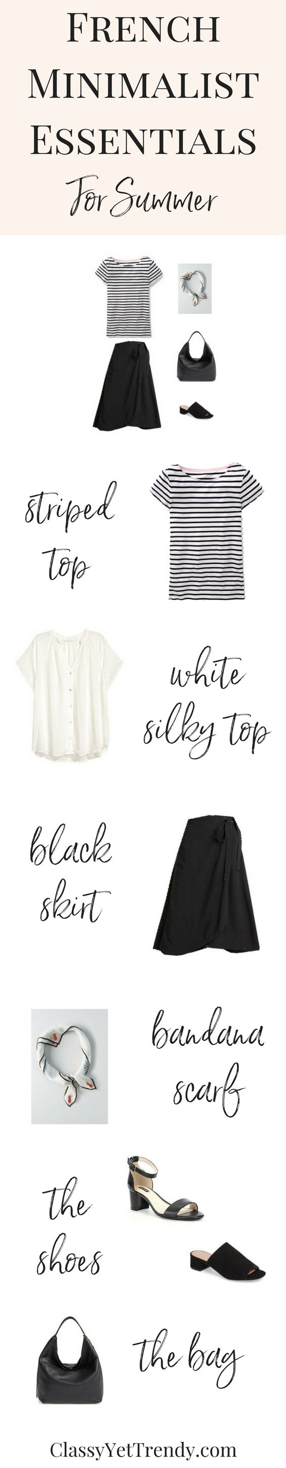 French Minimalist Essentials Clothes For Summer - Mix and match clothes and shoes to create for dozens of outfit ideas that you will love! Featured are a cold shoulder top, striped top, linen shorts, black pencil skirt, chambray skirt, short sleeve cardigan, ankle pants, skinny jeans, white tee.
