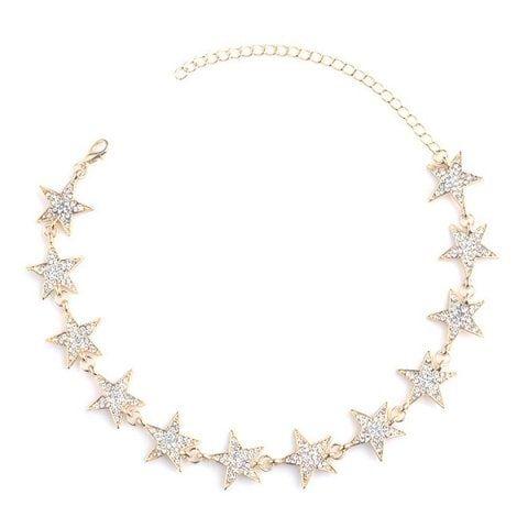 $5.80--GOLD--Rhinestoned Star Choker Necklace