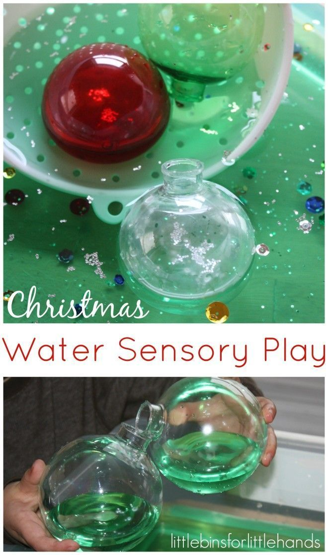 Christmas Sensory Play with ornaments and water sensory bin play