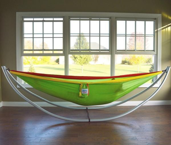 Happy Times Parachute Hammock with Lightweight Portable Hammock Stand. 8 piece collapsible frame into a shoulder bag for travel ease. No tools required, just snap together. Holds a whopping 450 lbs and weighs just 21 lbs!
