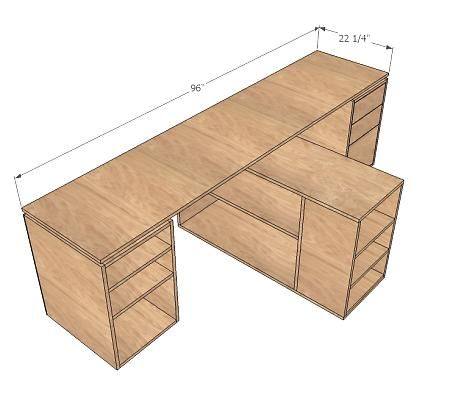 Desktop (sewing space? Could use hinges to make a flip-out 4' x 8' cutting surface, then fold back for machines to come out.)