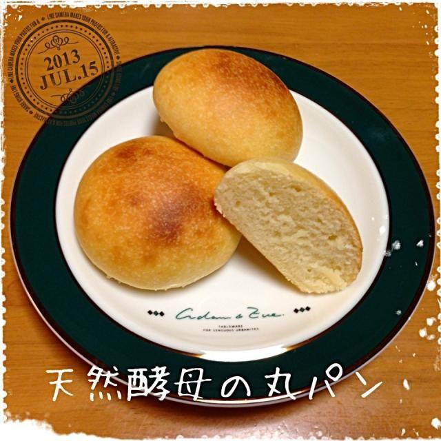 ヨーグルトと梅の2種の天然酵母液を使ってストレート法で作ってみました。膨らみが…足りない(泣)。ヨーグルトの酸味がきいたしっとりパンでした。 - 5件のもぐもぐ - 天然酵母の丸パン by なかみ