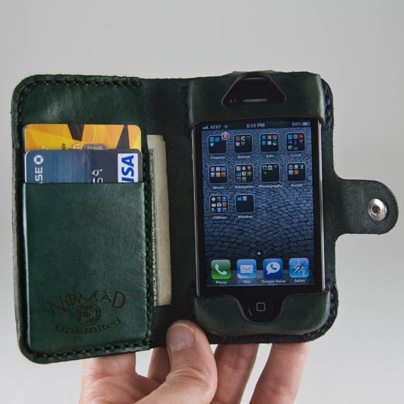 Leather iPhone 5 Wallet / Case, Book-Style, iPhone 3 / iPhone 4 / iPhone 4s / iPod Touch - Free Monogramming. $80.00, via Etsy.