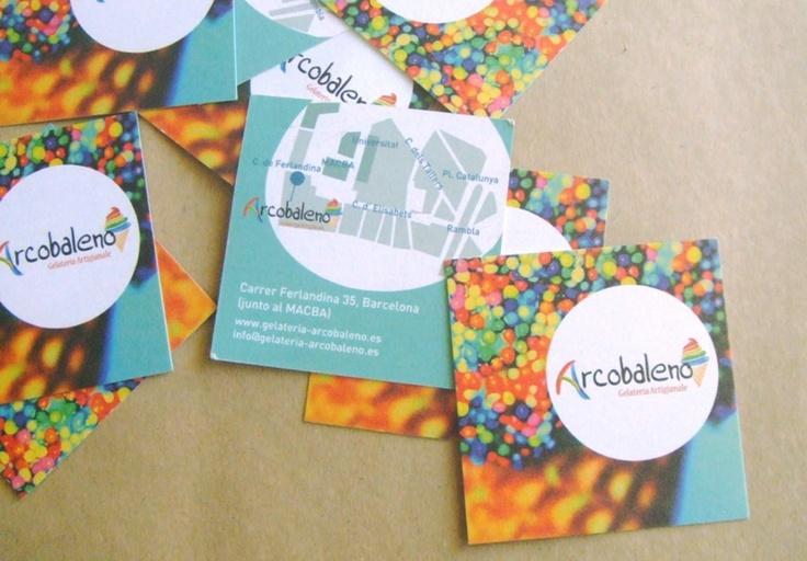 Gelateria Arcobaleno, Barcellona (Spagna). Immagine coordinata (marchio esistente), biglietti da visita, menù, flyers, segnaletica negozio con wallstickers.