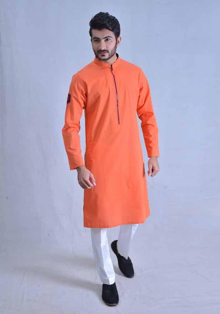 Trendy Orange Best Pakistani Men Kurta Shalwar Kameez