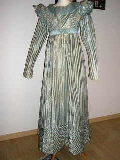 All The Pretty Dresses: Blue Stripy Regency Era Dress c. 1819