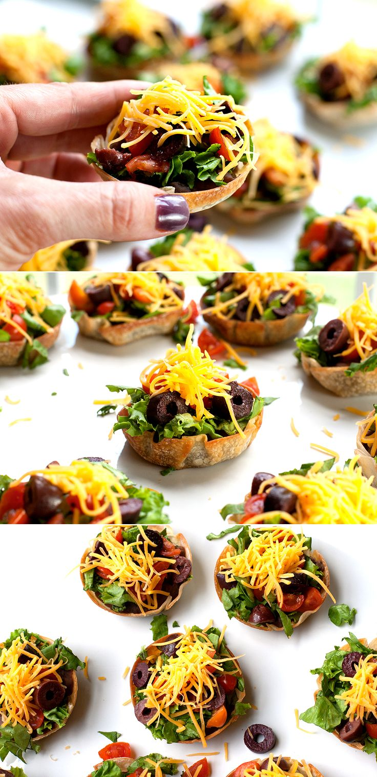 Mini Taco Salads!  #GameDay #BackToSchool