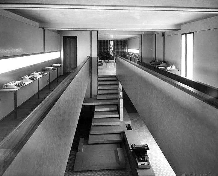 Il piano superiore del negozio Olivetti a Venezia