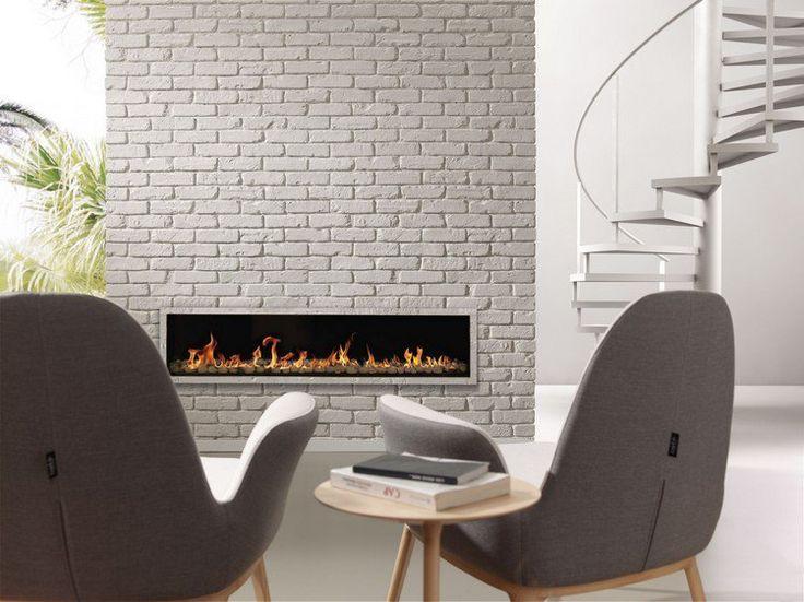 brique de parement blanche en tant que habillage de cheminée créatif et moderne