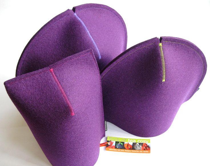 Modern Purple wool felt mug cosy, tea cosy and tea cozy in thick European designer felt
