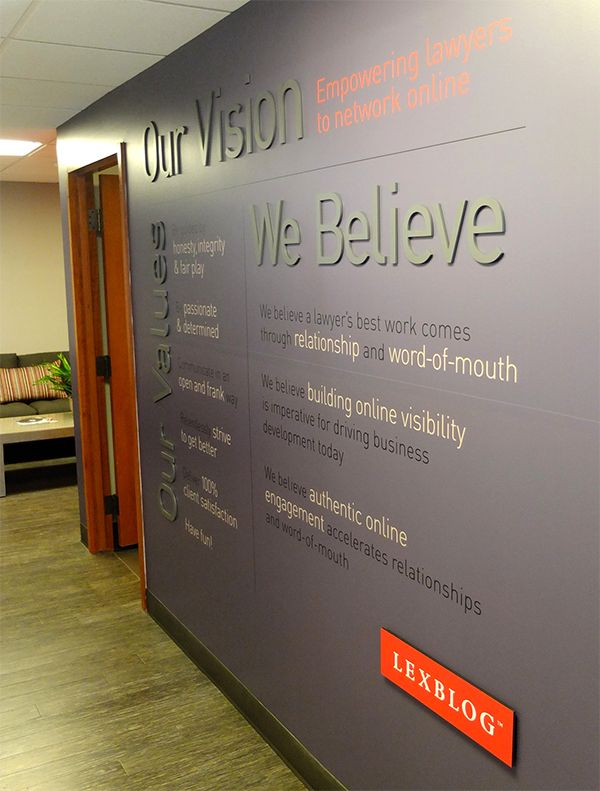 LEXBLOG BELIEF WALL & ENVIRONMENT