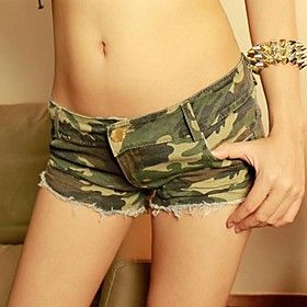 Women's Sexy Hot Korean Style Camouflage Jeans Shorts