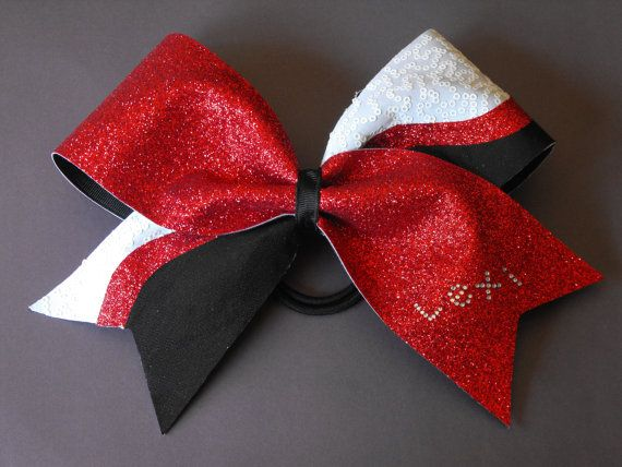 cheer bow texas style red black