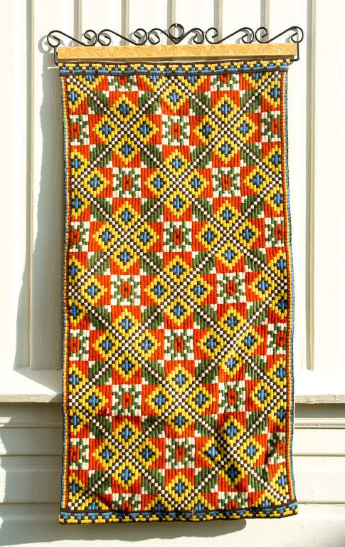 Vtg.Tapestry Norwegian Hand Embroidered Hand Carved Wall Hanging Scandinavian