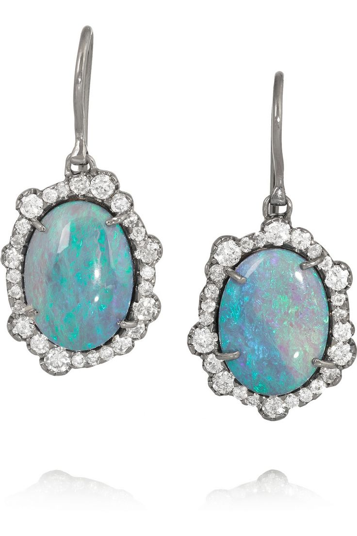 Kimberly McDonald 18-karat blackened white gold, opal and diamond earrings NET-A-PORTER.COM