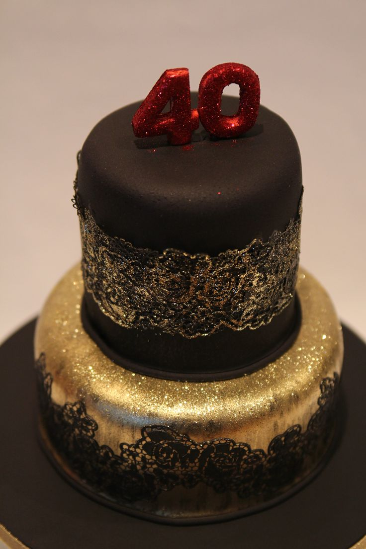 Elegant Red Black And Gold Number Cakes