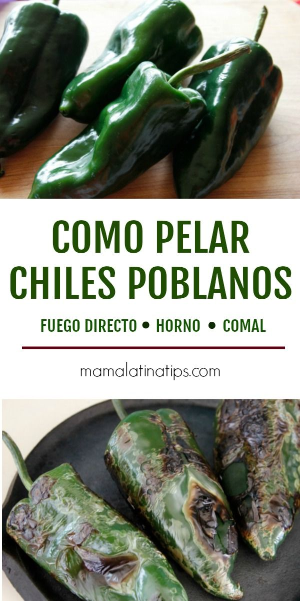 How to peel poblano peppers - 3 methods Poblano Chicken, Roasted Poblano Peppers, Stuffed Poblano Peppers, Stuffed Pepper Soup, Vegetarian Tamales, Vegetarian Recipes, Cooking Recipes, Healthy Recipes, Cooking Ideas
