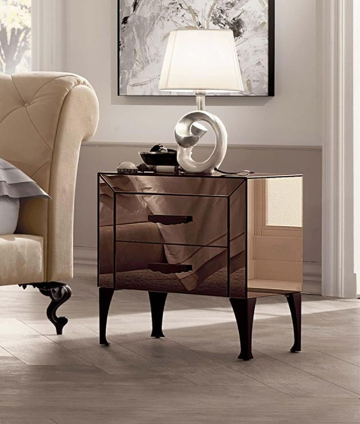 Beau Mirrored Bedroom Furniture By Cantori. U0027Adoneu0027 Night Table Finished In  Bronze ...
