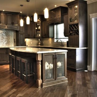 kitchen cabinets wwwoakvillerealestateonlinecom love the light fixtures and the stools that tuck - Kitchen Photos Dark Cabinets