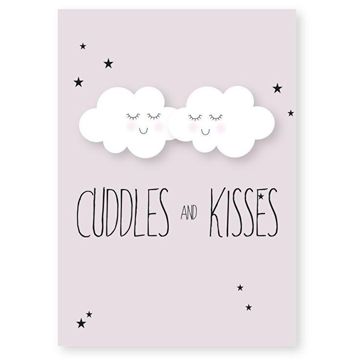 Ansichtkaart Cuddles and kisses. Lief kaartje om op te sturen maar ook heel decoratief in een lijstje of met stukje washitape opgeplakt in bijvoorbeeld de kinderkamer.