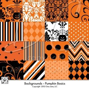 Halloween Digital Scrapbook Papers - Instant Download. Trendy and Bright in Black, White and Orange - Chevron, Stripes, Diamonds, Polka Dots, Dotted Swiss, Flourishes, Scrollwork, Pumpkin Leaves, Leaf Damask by Gina Jane.  Free Printables, Free Graphics, Free Kits, Free Digital Clip Art, Graphics and Backgrounds for Scrapbooking, Gina Jane Designs - DAISIE Company