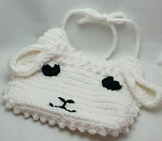 Lamb bib sheep bib crochet bib baby bib girl by BrethauerKrafts