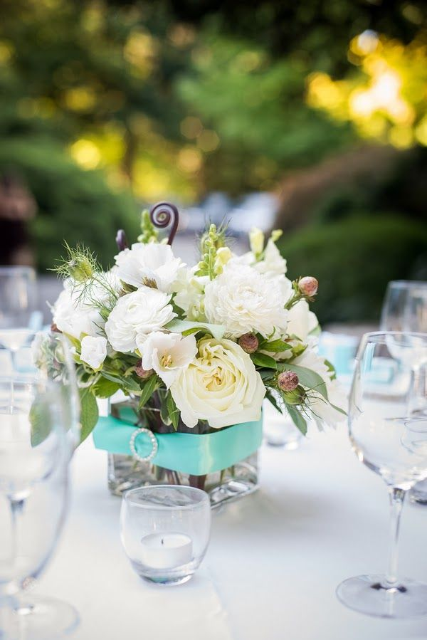 Tiffany S Blue Flowers Centerpieces Candles And Details Weddcolors