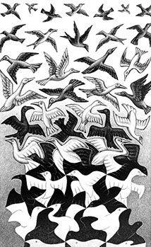 M. C. Escher Liberation Hier beeldt Escher bevrijding. De driehoekjes beneden veranderen in vrije vogels die alle kanten opvliegen. Het werk is lithografie (een grafische techniek, die tot de vlakdruk behoort. Het woord is afgeleid van de Griekse woorden λίθος lithos (steen) en γράφειν grafein (tekenen/schrijven) en betekent steendruk.)