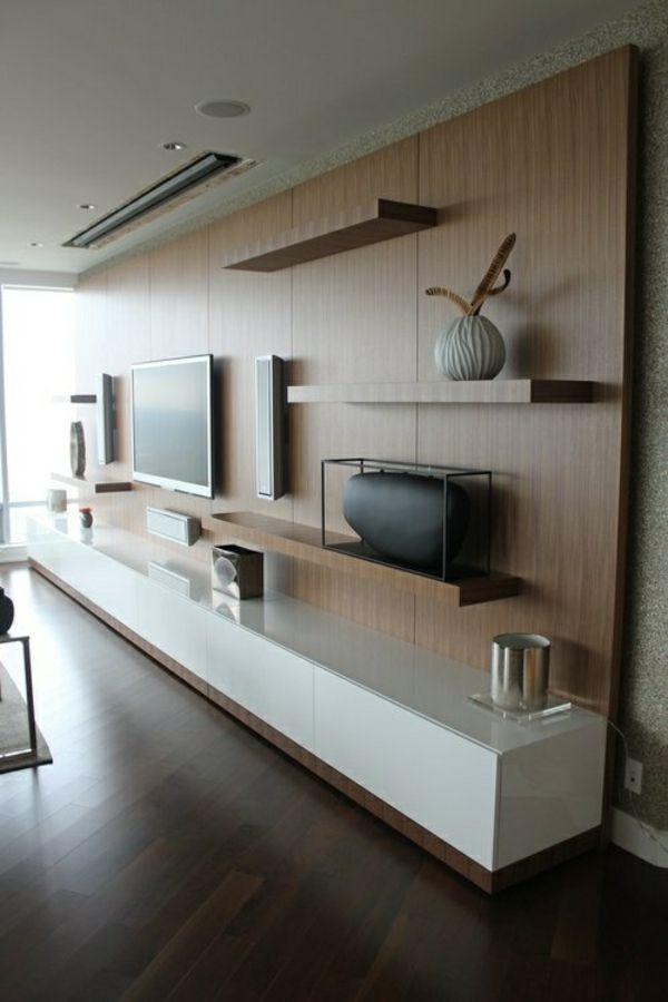Fernsehschrnke Regale Wohnzimmer Holz Wandgestaltung