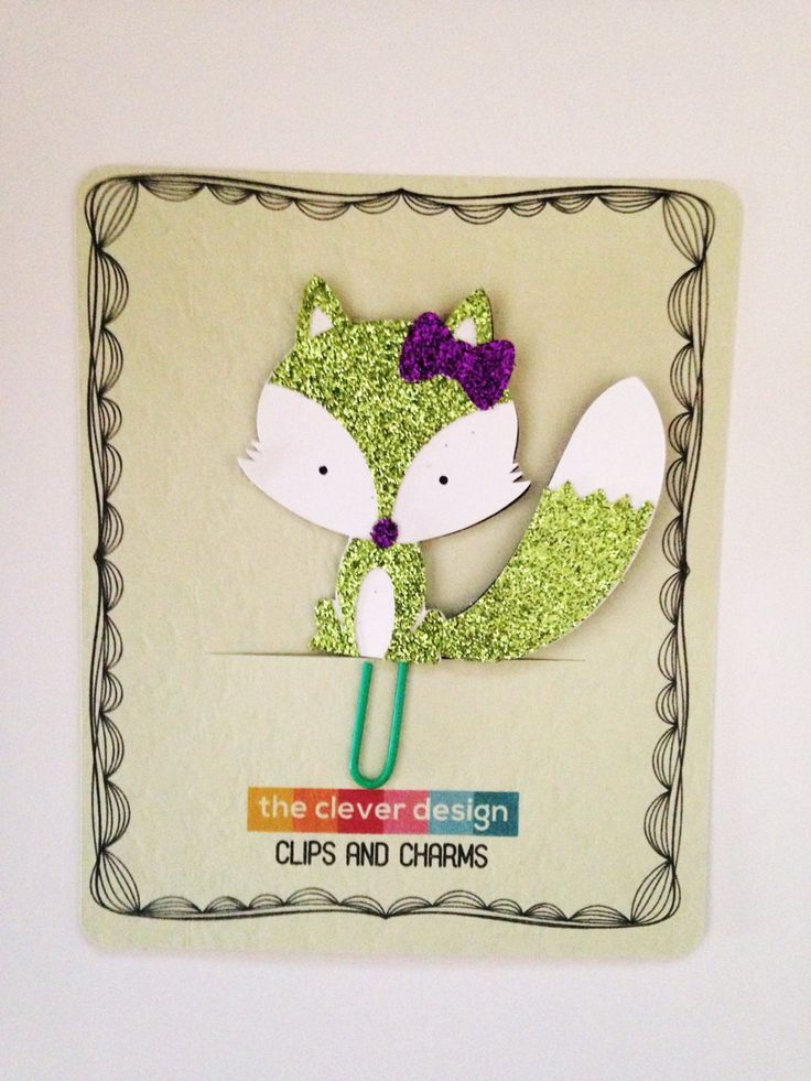 Green Fox Planner Clip by CleverDesignCharms on Etsy