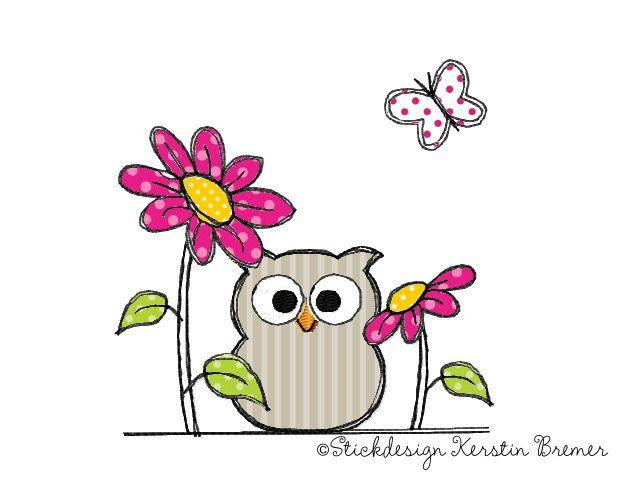 Eule mit Blumen Doodle Stickdatei - Stickdesign Kerstin Bremer