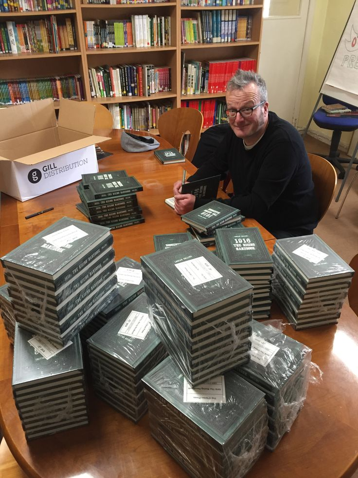 Lorcan Collins, author of 1916 The Rising Handbook, signs copies ahead of the launch in March 2016
