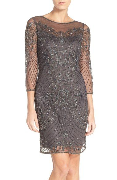 Pissaro Nights Beaded Illusion Dress available at #Nordstrom