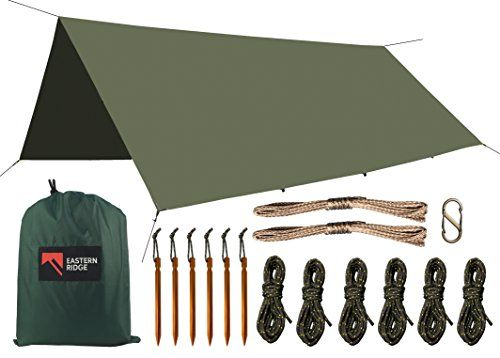 Camping Hammock Tarp - Waterproof Windproof Lightweight Durable Rainfly Shelter (Deep Green). For product & price info go to:  https://all4hiking.com/products/camping-hammock-tarp-waterproof-windproof-lightweight-durable-rainfly-shelter-deep-green/