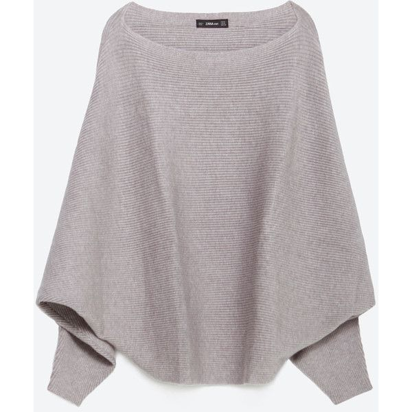 Zara Batwing Sweater ($40) ❤ liked on Polyvore featuring tops, sweaters, light grey, batwing sweater, light grey sweater, shell tops, batwing top and zara sweaters