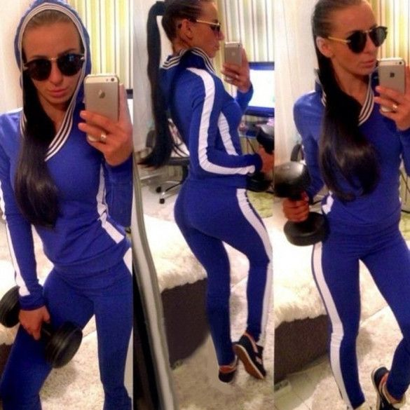 Ladies Women Sports Yoga Gym Track Suit Long Pants And V-neck Hoodie Sweatshirt Set