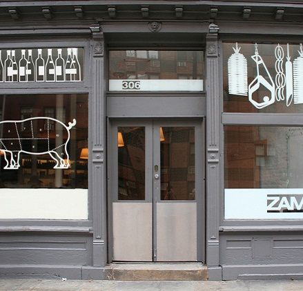 ZAMPA winebar + kitchen | New York. Combination of modern gray with clean hand-drawn illustrations. Type of logo also seems simple.
