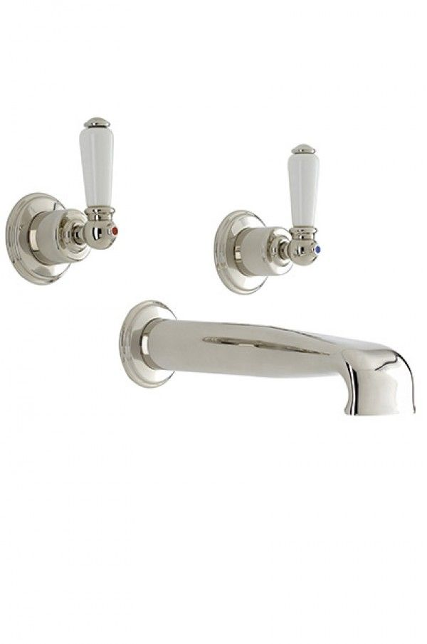 Perrin & Rowe 3580 three hole wall mounted bath filler with low profile spout with lever handles | Bath Taps | Taps