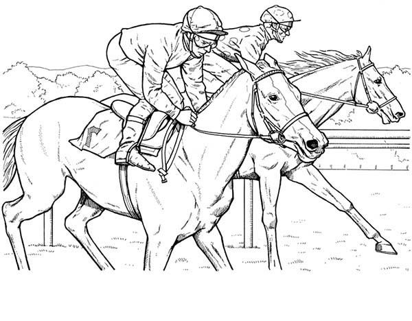KY Horse, Horse Race in Horses Coloring Page Horse